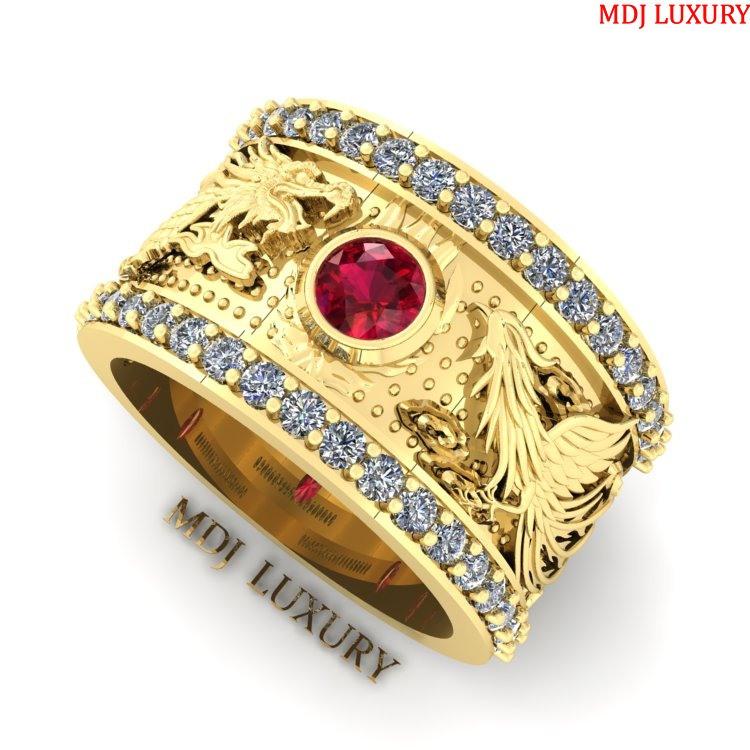 Nhẫn Vàng Nam rồng phượng 18K đá Ruby, Sapphia – NN102 Nhẫn nam con giáp