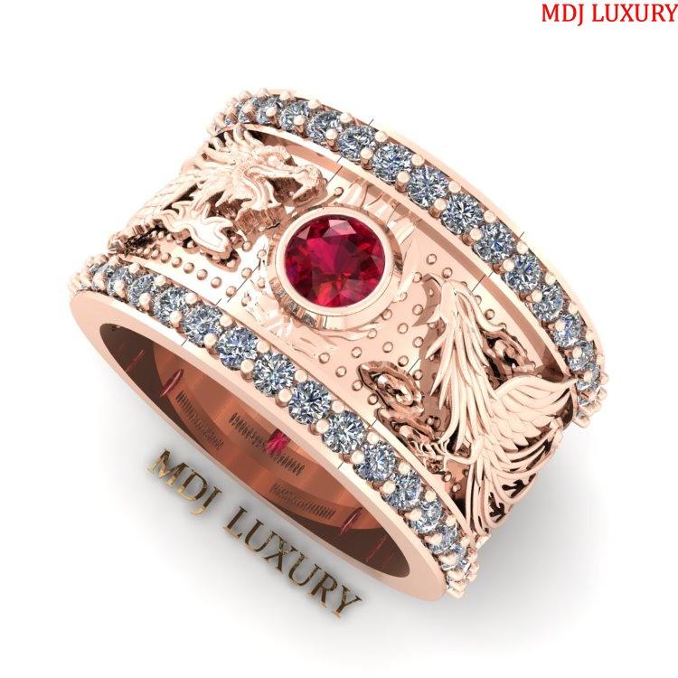 MDJ LUXURY - Trang sức vàng - Kim Cương Nhẫn nam vàng trắng rồng phượng Vàng 18K - NN102