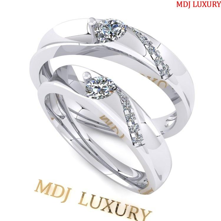 Nhẫn cưới vàng trắng 18K NC69