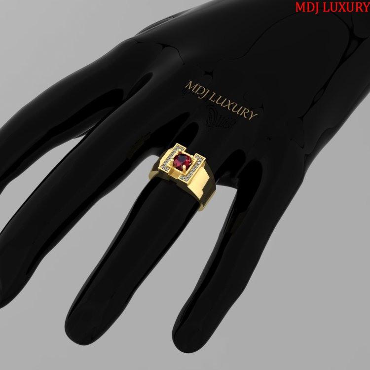 Nhẫn nam vàng tây 18K lịch lãm đá Ruby – NN103 nhẫn nam vàng tây