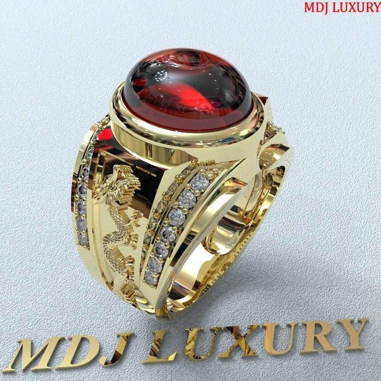 Nhẫn vàng nam phong thủy - đá Ruby NNPT01