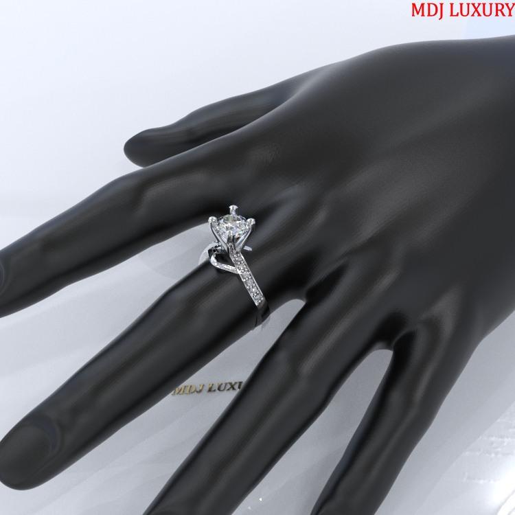 Nhẫn kiểu nữ vàng trắng 18k NNU15 nhẫn nữ kim cương