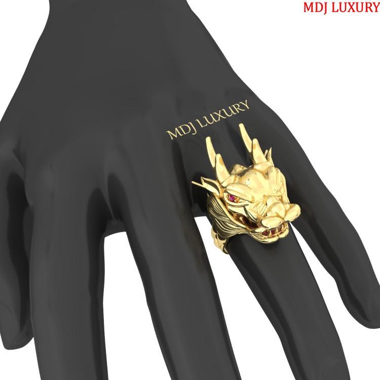 Nhẫn nam Rồng vàng Tây 18K giữ ngọc – NN107 Nhẫn nam con giáp