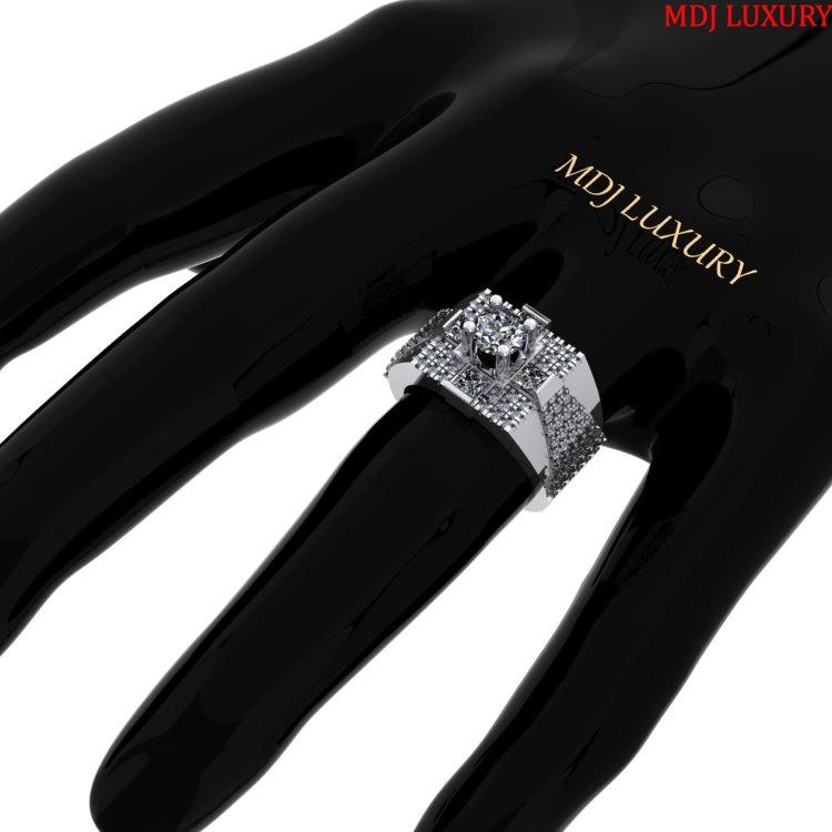 Nhẫn vàng tây MDJ nam NN138 nhẫn nam đá Ruby