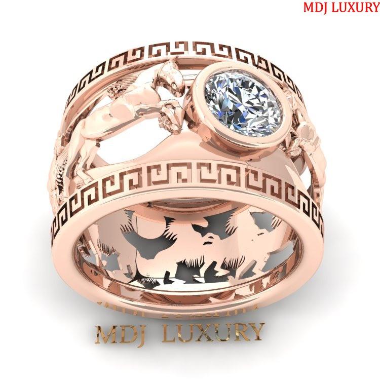 Nhẫn nam vàng trắng song mã NN155 Nhẫn nam con giáp