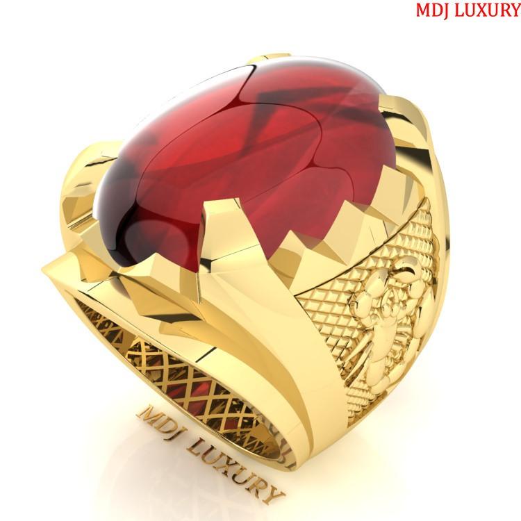 Nhẫn vàng nam đá Ruby thiên nhiên NN157 Nhẫn nam con giáp