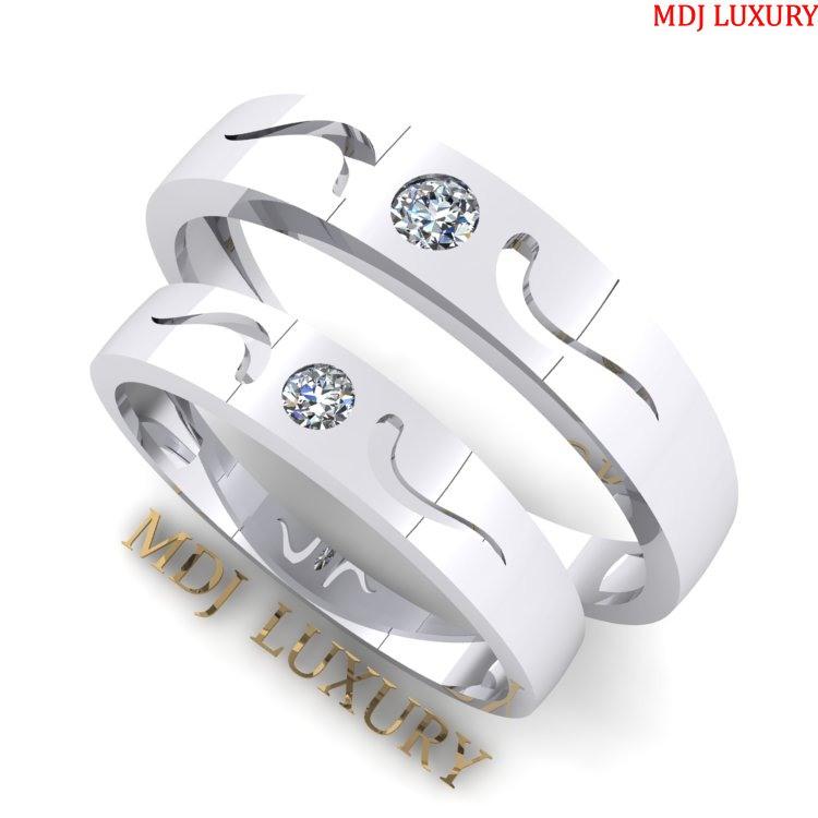 Nhẫn cưới Vàng Trắng đẹp MDJ - NC12