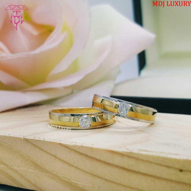 Cặp nhẫn cưới vàng tây 10K NCK10 nhẫn cưới kim cương