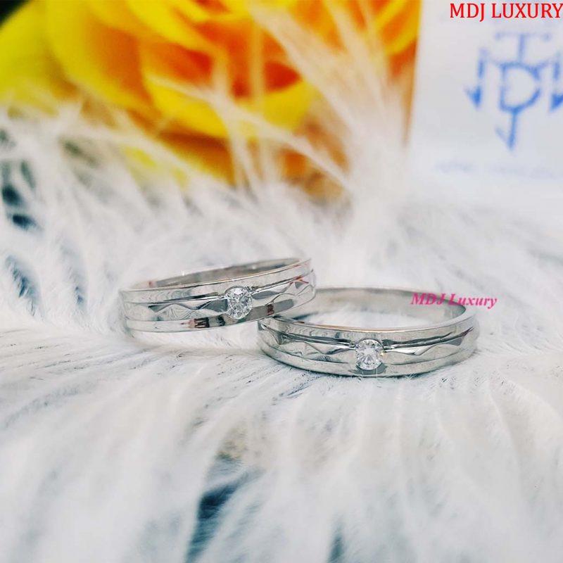 Nhẫn đôi vàng trắng 10k NCK26 nhẫn cưới kim cương