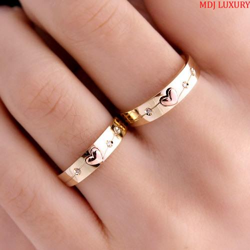 Nhẫn cưới trái tim NC22534 Nhẫn cưới vàng ghép
