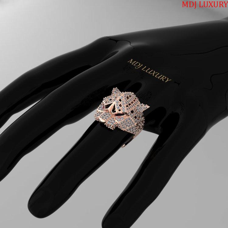 Nhẫn Vàng Trắng Nam Đầu Báo – NN101 – MDJ luxury Nhẫn nam con giáp
