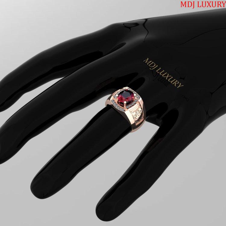 Nhẫn vàng trắng nam đá RUBY – NN124 nhẫn nam đá sapphire