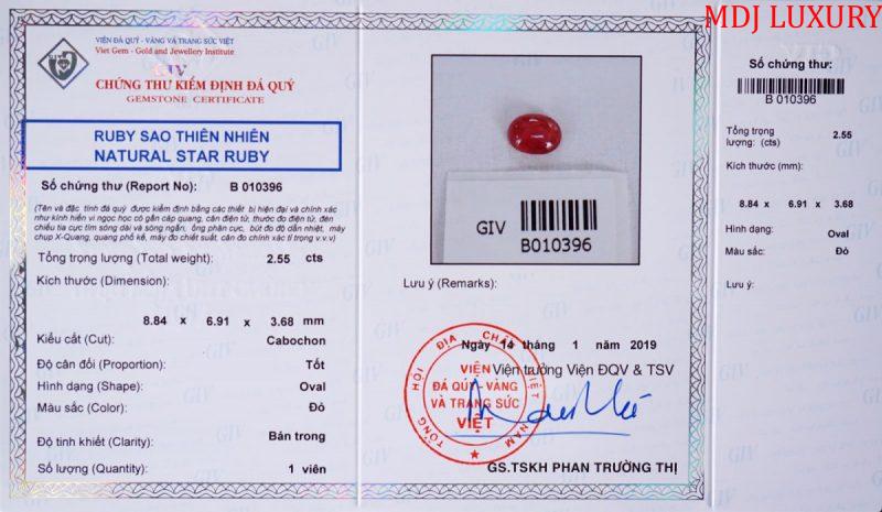 Kiểm định đá quý MDJ cung cấp và mẫu chứng thư kiểm định GIV