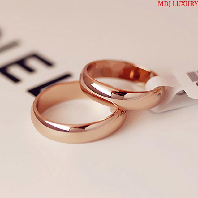MDJ LUXURY - Trang sức vàng - Kim Cương Nhẫn cưới trơn Vàng hồng
