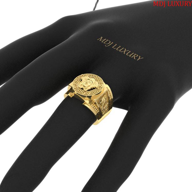 Nhẫn Vàng Nam mặt Versace – Nhẫn vàng trắng đẹp NN206 nhẫn nam vàng tây