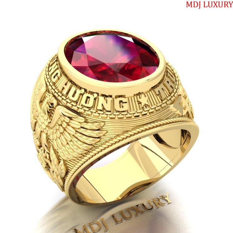 Nhẫn Kiểu Mỹ vàng 18K đá Ruby NN213 nhẫn mỹ vàng Tây