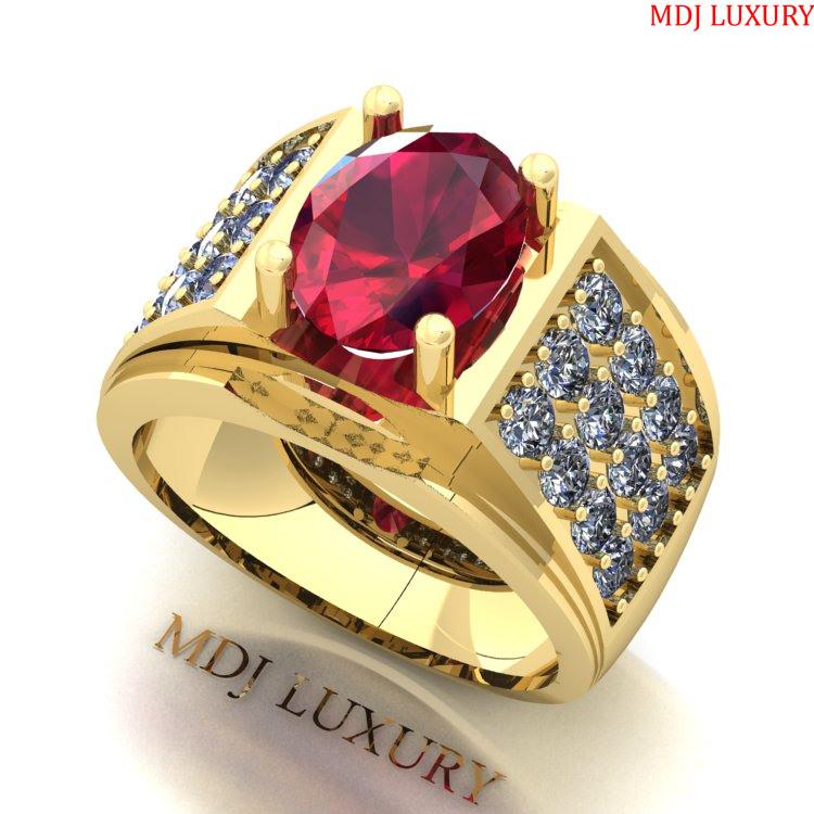 Nhẫn Vàng Nam Đá Ruby Lục Yên NN225 nhẫn nam vàng tây