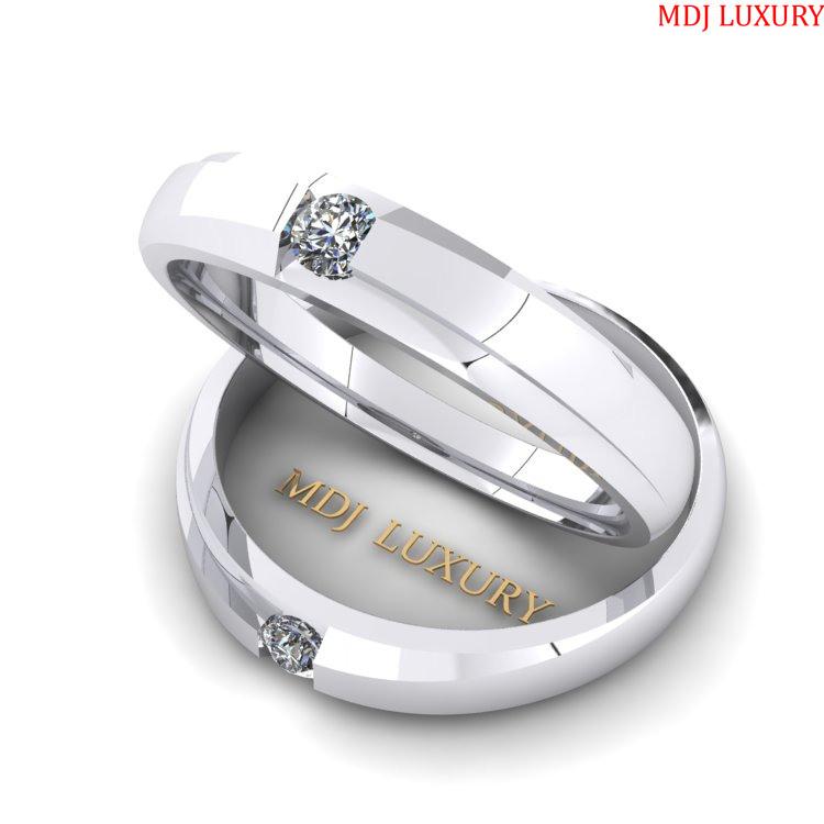 Nhẫn cưới vàng Trắng 18K MDJ NC 153