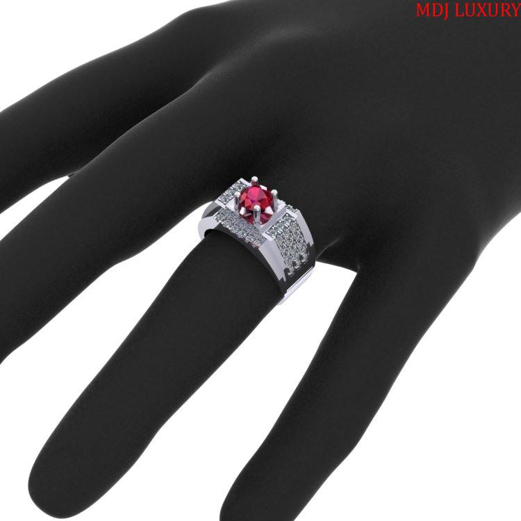 Nhẫn Vàng Nam đá Ruby- Nhẫn Nam 18K NN235 [tag]