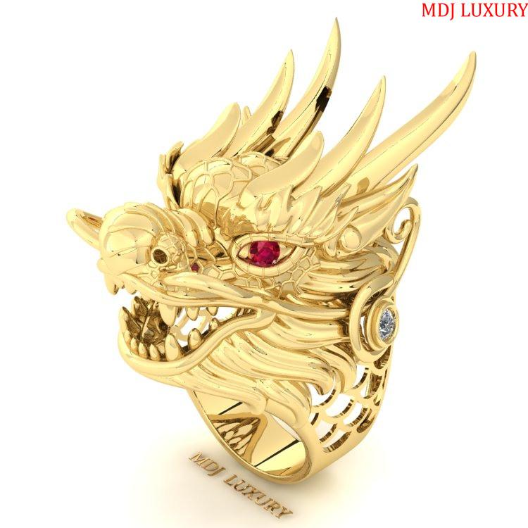 Nhẫn Nam Rồng Vàng 18K NN250 Nhẫn nam con giáp