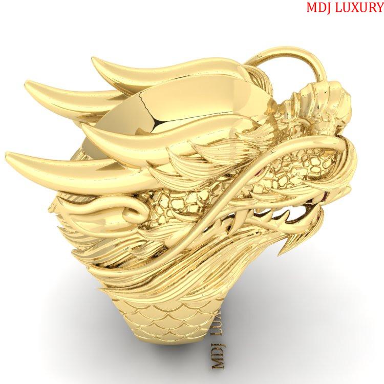 Nhẫn Nam Đầu Rồng Vàng 18K – MDJ NN251 Nhẫn nam con giáp