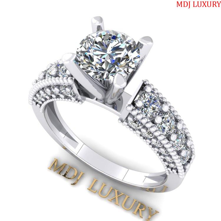 Nhẫn đính hôn bằng vàng trắng MDJ NNU102