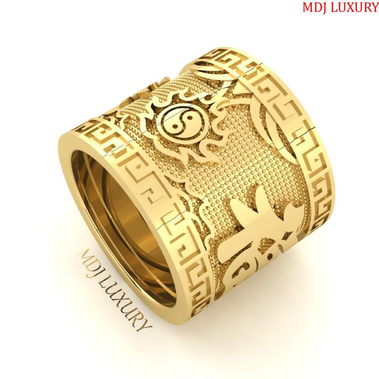 Nhẫn Nam Chữ Phúc vàng 18K -24K MDJ NN279