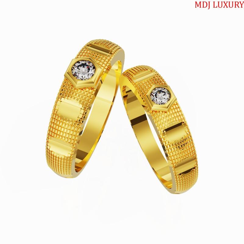 Nhẫn cưới Vàng Tây kim cương cao cấp - NC10